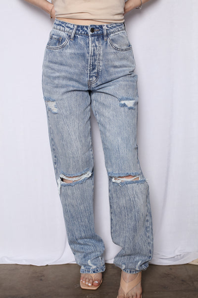 Hi Rise Acid Wash Wide Leg Boyfriend Jeans