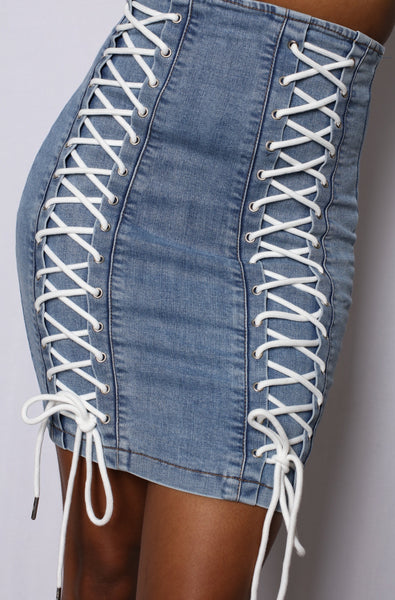 Lace Me Up Denim Mini Skirt