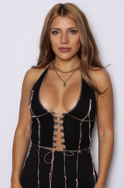 Stitched Like Crazy Laced Up Halter Top Black