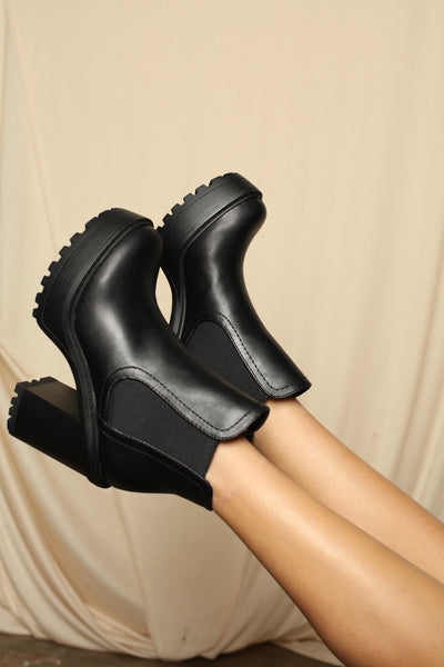 Grunge Queen Lug Sole Chunk Heel Booties