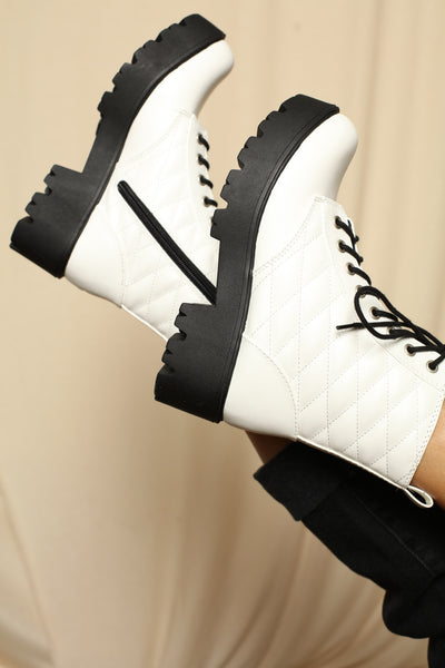 Quilted White Lug Sole Boots