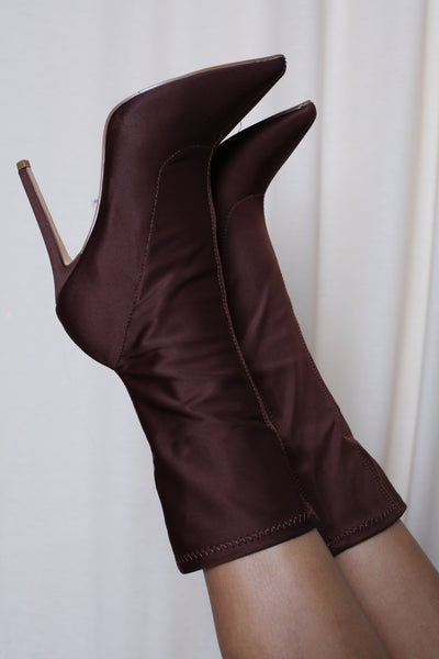 Coffee Pointed Toe Heeled Boots