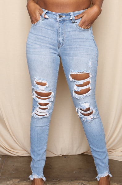 Hi Rise Extra Stretch Light Denim Skinnies