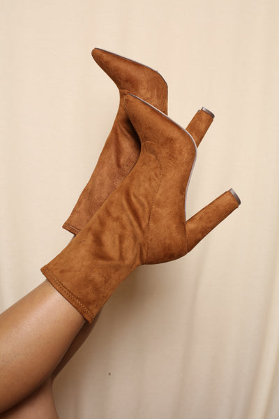 Pointy Tan Sock Booties