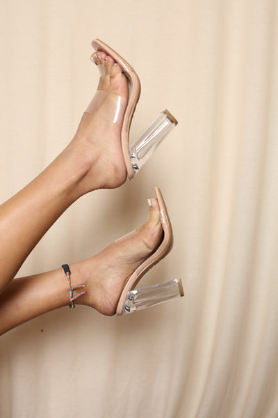 Double Strap Clear Chunky Heels