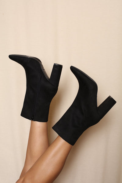 Pointy Black Booties