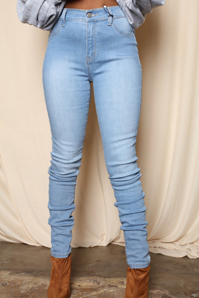 Perfect Fit No Rip High Rise Skinnies-light blue