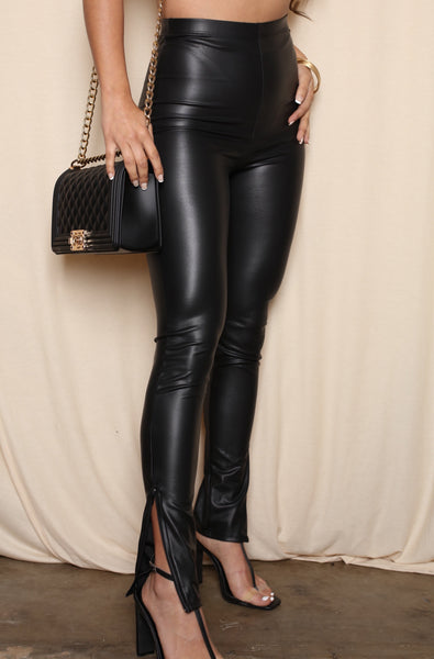 Split Hi Rise Vegan Leather Pants