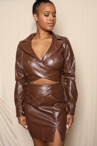 Brown Leather Wrap Top and Skirt Top