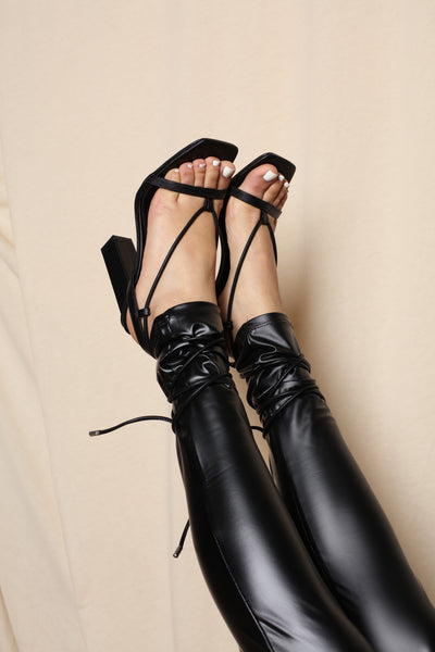 Black Square Toe Strappy Heels