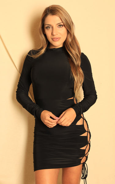 Turtle Neck Long Sleeve Laced Side Dress Black