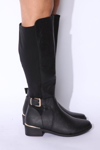 Black Gold Buckle Sperry Flat Boot