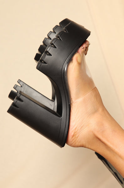 Clear Mule Lug Sole Heels Black
