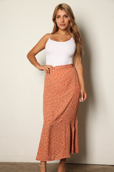 Floral Rust Midi Flow Skirt