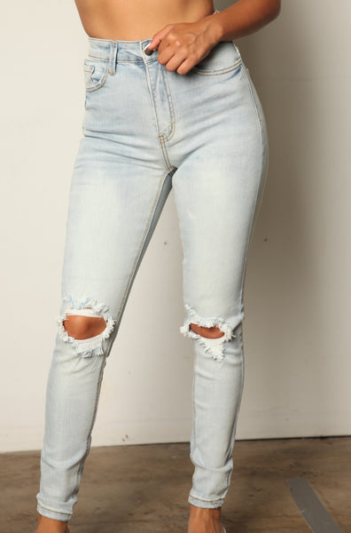Extra Stretch High Rise Light Wash Distressed Jeans