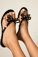 Black Jellie Sandals With Studs And Bow Tie