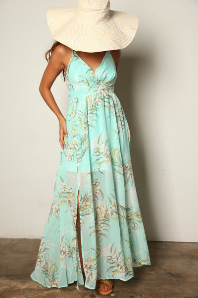 Mint Tropical Maxi Dress