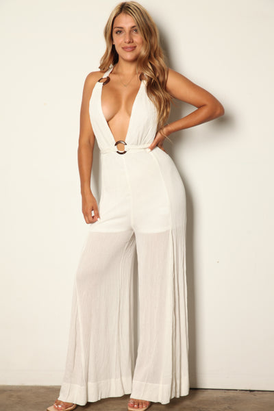 White Linen O Ring Jumpsuit