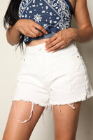White High Rise Boyfriend Shorts