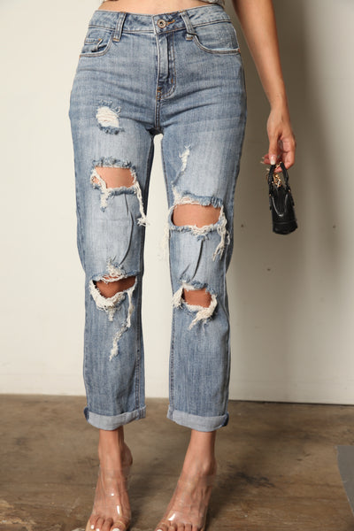 Bootyful Stretchy Distressed Mom Jeans