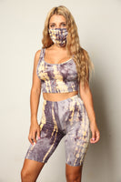 Matching Grays Tie Dye 3 Piece Mask Biker Short Set