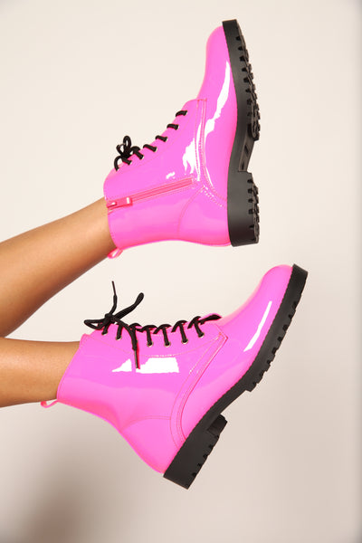 Pink Flame Mrs. Doc Patent Neon Boots