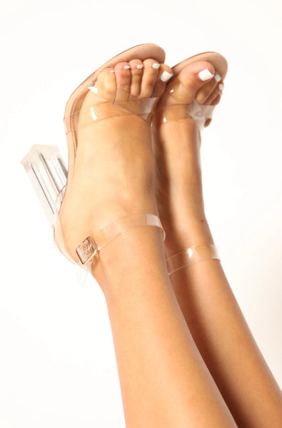 Clear Crossover Chunk Heels