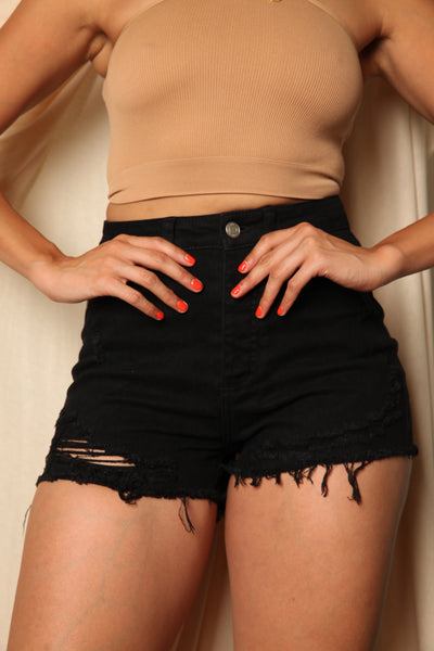 High Rise Black Stretch Shorts