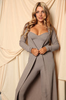 Ribbed Bustier Style Catsuit With Matching Cardigan Set Mocha