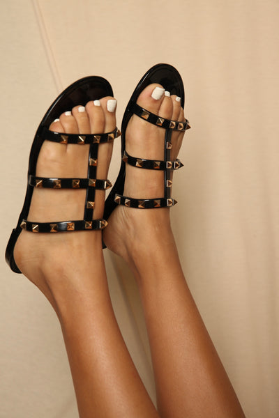Black Jellie Sandals With Studs