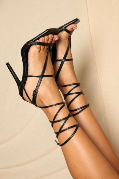 Black Square Toe Lace Up Heels