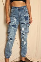 Patched Up Blue Jogger Pants