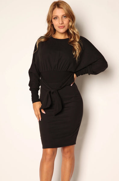 Take Me To Church Long Sleeve Tie Dress