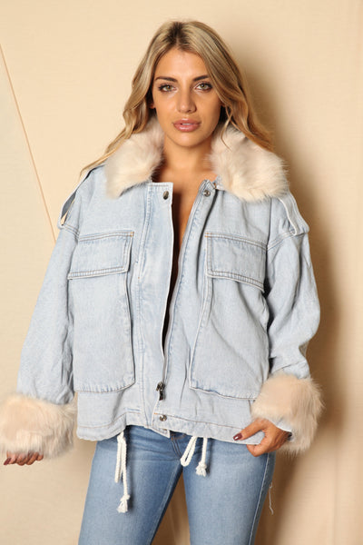 Removable Fur Collar Vintage Jacket