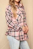 Pink Button Up Flannel Top