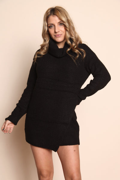 Turtle Neck Sweater Dress, Black