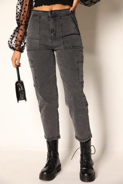 Black Acid Straight Cargo Jeans