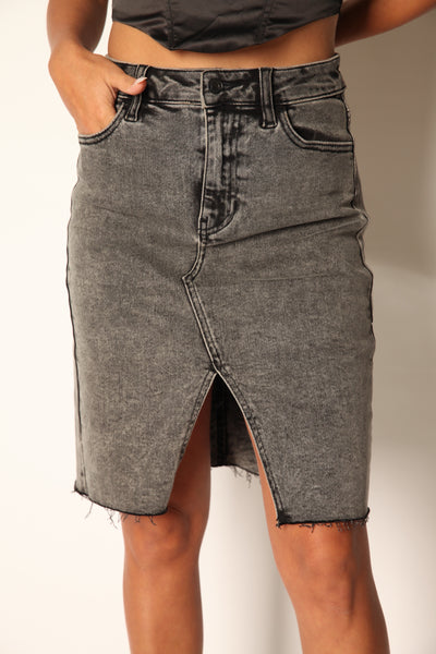 High Rise Black Acid Wash Midi Skirt