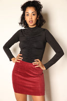 Curdoroy Mini Skirt Burgundy
