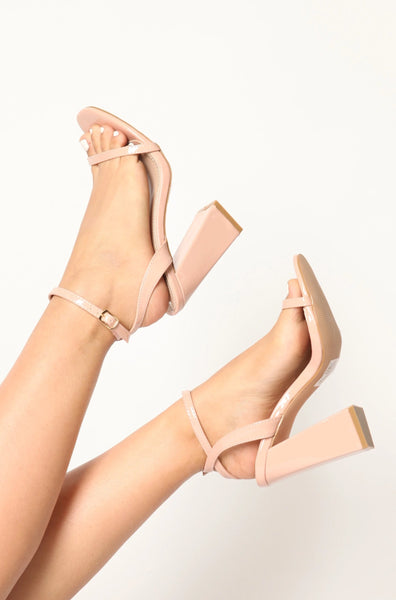 Patent Thin Strapped Single Sole Nude