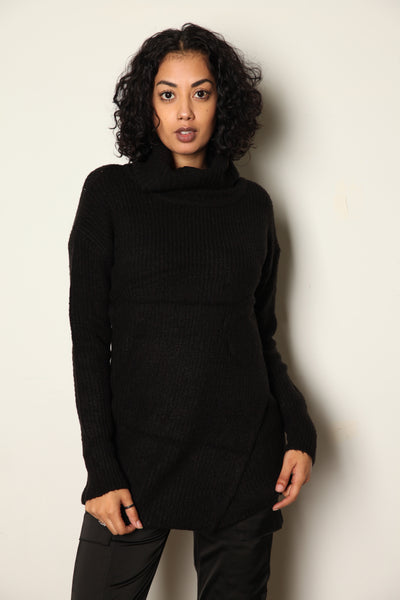 Turtle Neck Sweater Dress Black