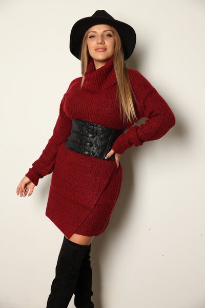 Turtle Neck Sweater Dress Red