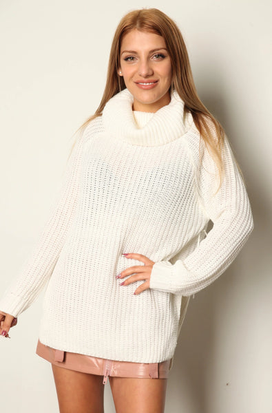 Turtle Neck Knit Tunic Sweater Dress Ivory