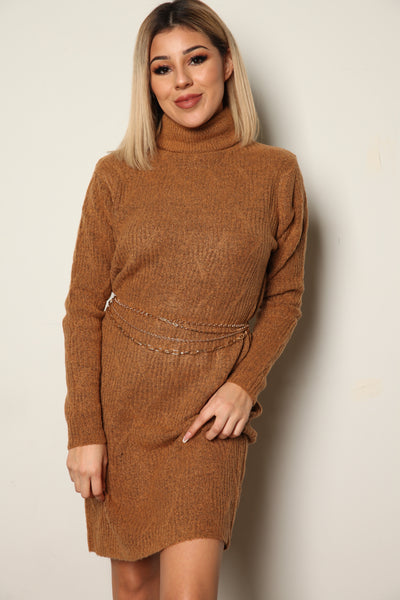 Camel Soft Knit Sweater Dress