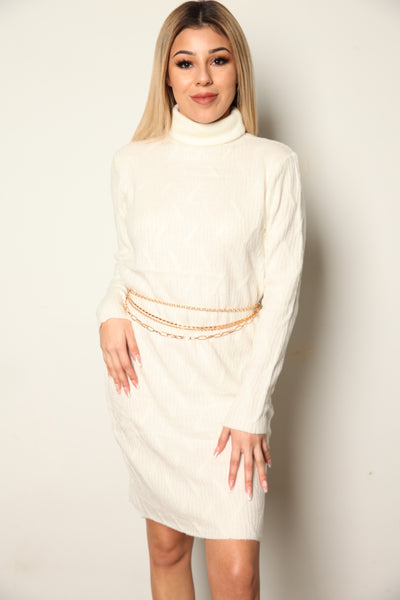 Soft Knit Sweater Dress White