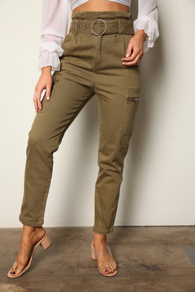 Olive Cargo Trouser Pants