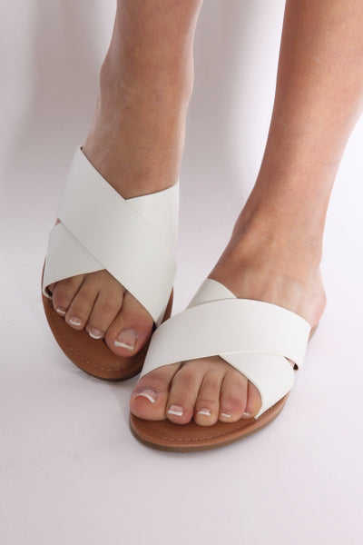 Cross Me Out Sandal White