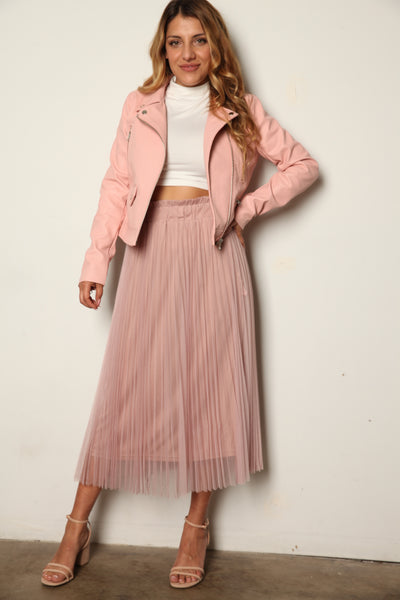 Pink Vegan Leather Moto Jacket