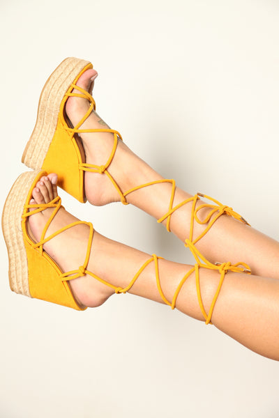 Lace Up Espadrille Wedge Marigold