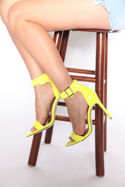 In The Right Direction Pointy Single Sole Heels Neon Yellow